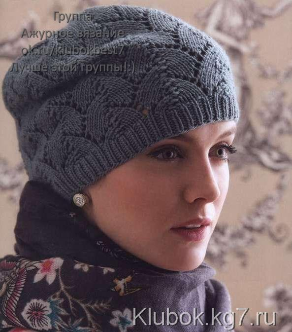 Шапка спицами Tulip Lace Hat by Julie Gaddy.